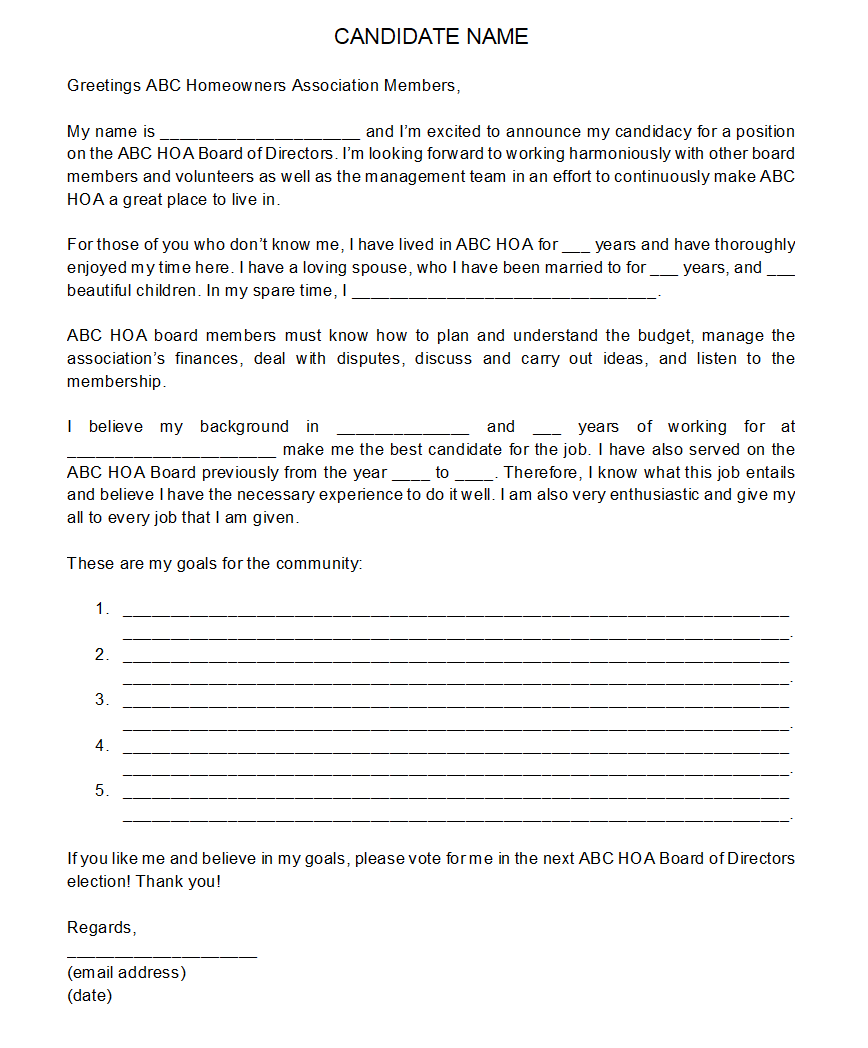 hoa board of directors statement sample